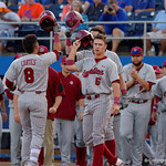 South Casrolina outfielder Carlos Cortes rounds second base after putting the Gamecocks up 2-0 with a monster home run as the Gators fall 4-2 to the South Carolina Gamecocks at McKethan Stadium. April 21st, 2017. Gator Country photo by David Bowie.