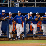 The Gators watch on from the dugout as the University of Florida Gators defeat the Wake Forest Demon Deacons 3-0 during Game 3 of the 2017 NCAA Super Regionals at McKethan Stadium.  June 12th, 2017. Gator Country photo by David Bowie.