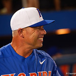 University of Florida Gators baseball head coach Kevin O'Sullivan is all smiles as the University of Florida Gators celebrate defeating the Wake Forest Demon Deacons 3-0 during Game 3 of the 2017 NCAA Super Regionals at McKethan Stadium.  June 12th, 2017. Gator Country photo by David Bowie.