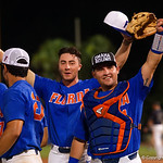 University of Florida Gators catcher Mike Rivera and University of Florida Gators infielder Jonathan India as the University of Florida Gators celebrate defeating the Wake Forest Demon Deacons 3-0 during Game 3 of the 2017 NCAA Super Regionals at McKethan Stadium.  June 12th, 2017. Gator Country photo by David Bowie.