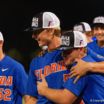 University of Florida Gators pitcher Brady Singer and University of Florida Gators infielder Deacon Liput as the University of Florida Gators celebrate defeating the Wake Forest Demon Deacons 3-0 during Game 3 of the 2017 NCAA Super Regionals at McKethan Stadium.  June 12th, 2017. Gator Country photo by David Bowie.
