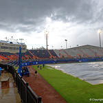 McKethan Stadium with the tarp on as the game goes into a rain delay in the top of the third inning, as the University of Florida Gators host the Wake Forest Demon Deacons during Game 3 of the 2017 NCAA Super Regionals at McKethan Stadium.  June 12th, 2017. Gator Country photo by David Bowie.