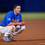 University of Florida Gators infielder Dalton Guthrie crouches down near third base following the seventh inning as the University of Florida Gators defeat the Wake Forest Demon Deacons 3-0 during Game 3 of the 2017 NCAA Super Regionals at McKethan Stadium.  June 12th, 2017. Gator Country photo by David Bowie.