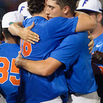 University of Florida Gators pitchers Alex Faedo and Tyler Dyson embrace as the University of Florida Gators defeat the Wake Forest Demon Deacons 3-0 during Game 3 of the 2017 NCAA Super Regionals at McKethan Stadium.  June 12th, 2017. Gator Country photo by David Bowie.
