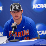 University of Florida Gators pitcher Tyler Dyson during the post-game press conference as the University of Florida Gators defeat the Wake Forest Demon Deacons 3-0 during Game 3 of the 2017 NCAA Super Regionals at McKethan Stadium.  June 12th, 2017. Gator Country photo by David Bowie.
