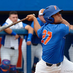 University of Florida Gators outfielder Nelson Maldonado flies out to end the first inning, as the University of Florida Gators host the Wake Forest Demon Deacons during Game 3 of the 2017 NCAA Super Regionals at McKethan Stadium.  June 12th, 2017. Gator Country photo by David Bowie.