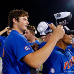 University of Florida Gators pitcher Tyler Dyson as the University of Florida Gators celebrate defeat the Wake Forest Demon Deacons 3-0 during Game 3 of the 2017 NCAA Super Regionals at McKethan Stadium.  June 12th, 2017. Gator Country photo by David Bowie.
