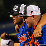 University of Florida Gators outfielder Nelson Maldonado and University of Florida Gators catcher Mike Rivera as the University of Florida Gators celebrate defeating the Wake Forest Demon Deacons 3-0 during Game 3 of the 2017 NCAA Super Regionals at McKethan Stadium.  June 12th, 2017. Gator Country photo by David Bowie.