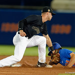University of Florida Gators pitcher Austin Langworthy slides into second base, Langworthy was called safe, as the University of Florida Gators defeat the Wake Forest Demon Deacons 3-0 during Game 3 of the 2017 NCAA Super Regionals at McKethan Stadium.  June 12th, 2017. Gator Country photo by David Bowie.