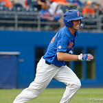 University of Florida Gators outfielder Ryan Larson sprints down the first base line as the University of Florida Gators host the Wake Forest Demon Deacons during Game 3 of the 2017 NCAA Super Regionals at McKethan Stadium.  June 12th, 2017. Gator Country photo by David Bowie.