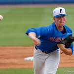 University of Florida Gators pitcher Brady Singer pitching as the University of Florida Gators host the Wake Forest Demon Deacons during Game 3 of the 2017 NCAA Super Regionals at McKethan Stadium.  June 12th, 2017. Gator Country photo by David Bowie.