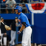 University of Florida Gators infielder Jonathan India celebrates after University of Florida Gators catcher JJ Schwarz hit a 2 run homerun as the University of Florida Gators defeat the Wake Forest Demon Deacons 3-0 during Game 3 of the 2017 NCAA Super Regionals at McKethan Stadium.  June 12th, 2017. Gator Country photo by David Bowie.