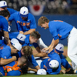 The Gators celebrate as the University of Florida Gators defeat the Wake Forest Demon Deacons 3-0 during Game 3 of the 2017 NCAA Super Regionals at McKethan Stadium.  June 12th, 2017. Gator Country photo by David Bowie.