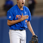 University of Florida Gators pitcher Alex Faedo celebrates after the eighth inning as the University of Florida Gators defeat the Wake Forest Demon Deacons 3-0 during Game 3 of the 2017 NCAA Super Regionals at McKethan Stadium.  June 12th, 2017. Gator Country photo by David Bowie.