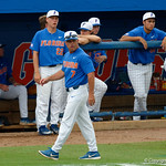 University of Florida Gators baseball head coach Kevin O'Sullivan walks bacl to the dugout after a disagreement with the umpires on a fly ball call, as the University of Florida Gators host the Wake Forest Demon Deacons during Game 3 of the 2017 NCAA Super Regionals at McKethan Stadium.  June 12th, 2017. Gator Country photo by David Bowie.