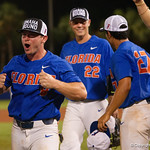 University of Florida Gators infielder Deacon Liput as the University of Florida Gators celebrate defeating the Wake Forest Demon Deacons 3-0 during Game 3 of the 2017 NCAA Super Regionals at McKethan Stadium.  June 12th, 2017. Gator Country photo by David Bowie.