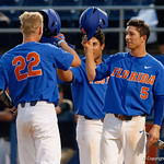University of Florida Gators catcher JJ Schwarz hits a two run homerun to give the Gators a 3-0 lead as the University of Florida Gators defeat the Wake Forest Demon Deacons 3-0 during Game 3 of the 2017 NCAA Super Regionals at McKethan Stadium.  June 12th, 2017. Gator Country photo by David Bowie.
