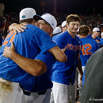 University of Florida Gators baseball head coach Kevin O'Sullivan gives University of Florida Gators pitcher Alex Faedo a hug as the University of Florida Gators celebrate defeat the Wake Forest Demon Deacons 3-0 during Game 3 of the 2017 NCAA Super Regionals at McKethan Stadium.  June 12th, 2017. Gator Country photo by David Bowie.