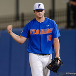 University of Florida Gators pitcher Tyler Dyson celebrates after getting out of an inning as the University of Florida Gators defeat the Wake Forest Demon Deacons 3-0 during Game 3 of the 2017 NCAA Super Regionals at McKethan Stadium.  June 12th, 2017. Gator Country photo by David Bowie.