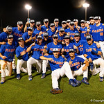 The Florida Gators Baseball team celebrates defeating the Wake Forest Demon Deacons 3-0 during Game 3 of the 2017 NCAA Super Regionals at McKethan Stadium.  June 12th, 2017. Gator Country photo by David Bowie.