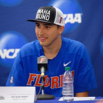 University of Florida Gators pitcher Alex Faedo during the post-game press conference as the University of Florida Gators defeat the Wake Forest Demon Deacons 3-0 during Game 3 of the 2017 NCAA Super Regionals at McKethan Stadium.  June 12th, 2017. Gator Country photo by David Bowie.