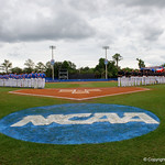 An overview of the Gators and Demon Deacons during the national anthem, as the University of Florida Gators host the Wake Forest Demon Deacons during Game 3 of the 2017 NCAA Super Regionals at McKethan Stadium.  June 12th, 2017. Gator Country photo by David Bowie.