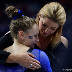 University of Florida Gators gymnast Rachel Gowey getting a hug from head coach Jenny Rowland after performing on the beam as the Gators defeat the University of Georgia Bulldogs at the Stephen C. O'Connell Center.  February 10th, 2016. Gator Country photo by David Bowie.