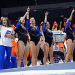 University of Florida Gators gymnasts cheer on for their team as the Gators defeat the University of Georgia Bulldogs at the Stephen C. O'Connell Center.  February 10th, 2016. Gator Country photo by David Bowie.