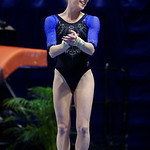 University of Florida Gators gymnast Alex McMurtry performing on the vault as the Gators defeat the University of Georgia Bulldogs at the Stephen C. O'Connell Center.  February 10th, 2016. Gator Country photo by David Bowie.