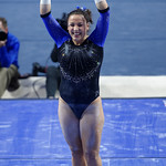 University of Florida Gators gymnast Amelia Hundley performing on the uneven bars as the Gators defeat the University of Georgia Bulldogs at the Stephen C. O'Connell Center.  February 10th, 2016. Gator Country photo by David Bowie.