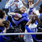 University of Florida Gators gymnast Alex McMurtry is congratulated after scoring a perfect 10.0 on the uneven bars as the Gators defeat the University of Georgia Bulldogs at the Stephen C. O'Connell Center.  February 10th, 2016. Gator Country photo by David Bowie.