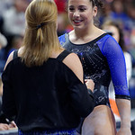 University of Florida Gators gymnast Amelia Hundley getting some advice from head coach Jenny Rowkand before performing on the beam as the Gators defeat the University of Georgia Bulldogs at the Stephen C. O'Connell Center.  February 10th, 2016. Gator Country photo by David Bowie.