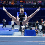 University of Florida Gators gymnast Rachel Gowey performing on the vault as the Gators defeat the University of Georgia Bulldogs at the Stephen C. O'Connell Center.  February 10th, 2016. Gator Country photo by David Bowie.