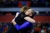 Florida Gators gymnist Alyssa Baumann gets a hug from Florida Gators Gymnastics Head Coach Jenny Rowland as the #2 Gators faced #4 Denver and #18 Iowa State at the Stephen C. O'Connell Center in Gainesville, Florida on February 7th, 2020 (Photo by David Bowie/Gatorcountry)