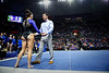 Florida Gators Gymnastics Assistant Coach Adrian Burde gives a pep talk to Florida Gators gymnist Rachel Gowey as the #2 Gators faced #4 Denver and #18 Iowa State at the Stephen C. O'Connell Center in Gainesville, Florida on February 7th, 2020 (Photo by David Bowie/Gatorcountry)