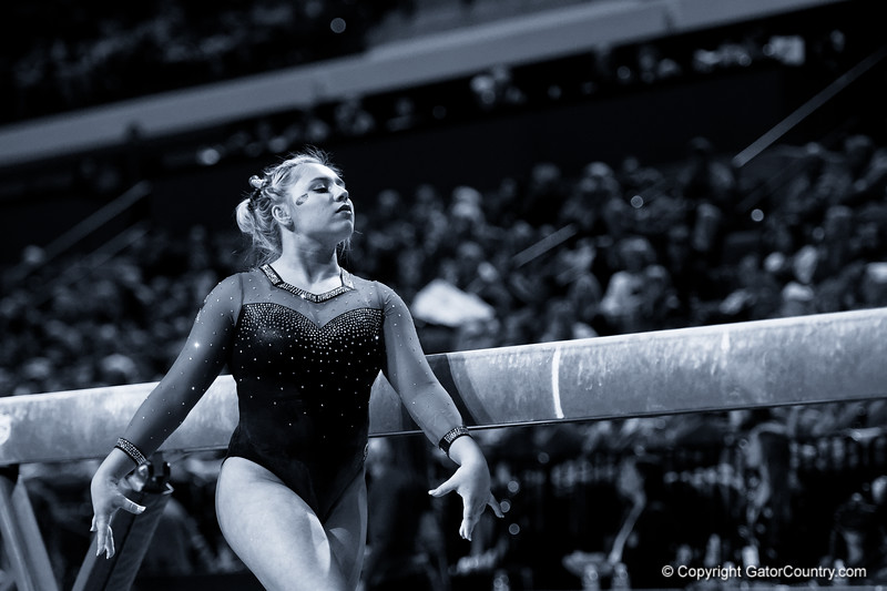 Florida Gators gymnist Sydney Johnson-Scharpf as the #2 Gators faced #4 Denver and #18 Iowa State at the Stephen C. O'Connell Center in Gainesville, Florida on February 7th, 2020 (Photo by David Bowie/Gatorcountry)