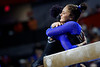 Florida Gators gymnist Trinity Thomas gets a hug from Florida Gators gymnist Savannah Schoenherr able Thomas scored a 10.0 as the #2 Gators faced #4 Denver and #18 Iowa State at the Stephen C. O'Connell Center in Gainesville, Florida on February 7th, 2020 (Photo by David Bowie/Gatorcountry)