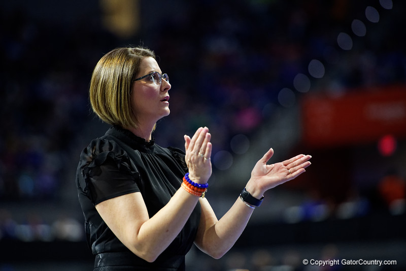 Florida Gators Gymnastics Head Coach Jenny Rowland as the #2 Gators faced #4 Denver and #18 Iowa State at the Stephen C. O'Connell Center in Gainesville, Florida on February 7th, 2020 (Photo by David Bowie/Gatorcountry)