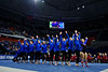 The Florida Gators gymnastics team celebrates after defeating the #2 Gators faced #4 Denver and #18 Iowa State at the Stephen C. O'Connell Center in Gainesville, Florida on February 7th, 2020 (Photo by David Bowie/Gatorcountry)
