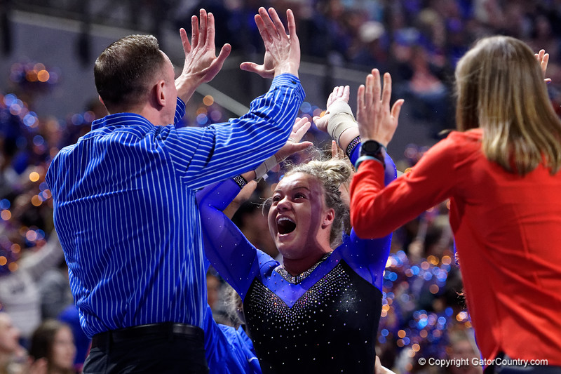 Florida Gators gymnist Jazmyn Foberg as the #2 Gators faced #4 Denver and #18 Iowa State at the Stephen C. O'Connell Center in Gainesville, Florida on February 7th, 2020 (Photo by David Bowie/Gatorcountry)