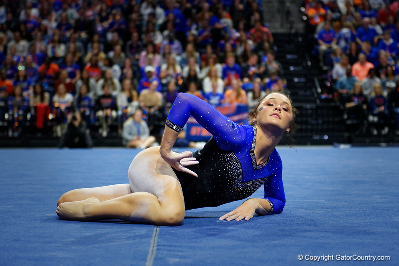Florida Gators gymnist Savannah Schoenherr performs her floor routine as the #2 Gators faced #4 Denver and #18 Iowa State at the Stephen C. O'Connell Center in Gainesville, Florida on February 7th, 2020 (Photo by David Bowie/Gatorcountry)