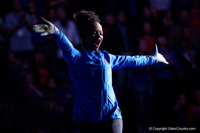 Florida Gators gymnist Trinity Thomas during gymnist introductions as the #2 Gators faced #4 Denver and #18 Iowa State at the Stephen C. O'Connell Center in Gainesville, Florida on February 7th, 2020 (Photo by David Bowie/Gatorcountry)