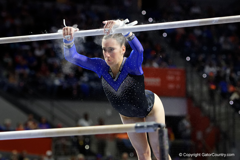 Florida Gators gymnist Megan Skaggs as the #2 Gators faced #4 Denver and #18 Iowa State at the Stephen C. O'Connell Center in Gainesville, Florida on February 7th, 2020 (Photo by David Bowie/Gatorcountry)