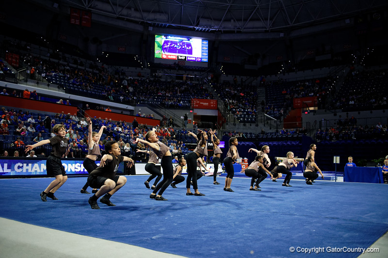 The Elite Dance Team performs as the #2 Florida Gators faced #4 Denver and #18 Iowa State at the Stephen C. O'Connell Center in Gainesville, Florida on February 7th, 2020 (Photo by David Bowie/Gatorcountry)
