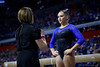 Florida Gators gymnist Rachel Gowey gets a pep talk from Florida Gators Gymnastics Head Coach Jenny Rowland  as the #2 Gators faced #4 Denver and #18 Iowa State at the Stephen C. O'Connell Center in Gainesville, Florida on February 7th, 2020 (Photo by David Bowie/Gatorcountry)
