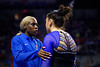 Florida Gators gymnist Sierra Alexander gives a pep talk to Florida Gators gymnist Amelia Hundley as the #2 Gators faced #4 Denver and #18 Iowa State at the Stephen C. O'Connell Center in Gainesville, Florida on February 7th, 2020 (Photo by David Bowie/Gatorcountry)