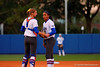Florida Gators catcher Aubree Munro comes out to calm down freshman pitcher Aleshia Ocasio during the first inning.  Florida Gators vs NC State Wolfpack.  February 13th, 2015. Gator Country photo by David Bowie.