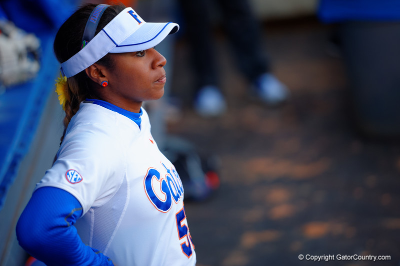 Florida Gators outfielder Briana Little waits in the dugout for the game to start.  Florida Gators vs NC State Wolfpack.  February 13th, 2015. Gator Country photo by David Bowie.