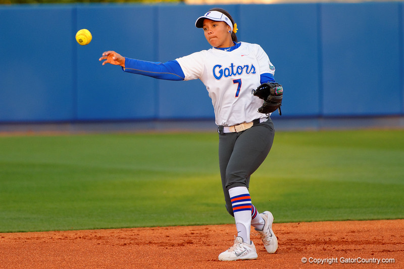 Florida Gators second baseman Kelsey Stewart takes infield practice prior to the start of the game.  Florida Gators vs NC State Wolfpack.  February 13th, 2015. Gator Country photo by David Bowie.