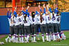 The Florida Gators prepare to take the field for the start of the game.  Florida Gators vs NC State Wolfpack.  February 13th, 2015. Gator Country photo by David Bowie.